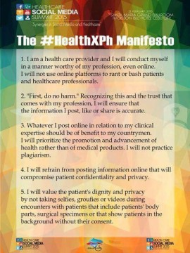 The #HealthXPh Social Media Medical Professionalism Manifesto